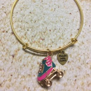 Jewelry - Gold plated adjustable roller skate charm bracelet
